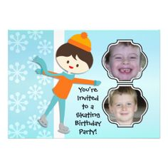 Having a birthday skating party? You'll love these cute and colorful winter skating theme Brunette Boy Birthday Skating Party invitations that you can easily add photos and your birthday party specifics to! Features a brown haired ice skating boy on a soft blue background with white snowflakes! #skating #skater #skates #winter #birthday #customized #parties #kids #boys #childrens #custom #peacockcards #personalized