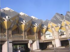 The cube houses (kubuswoningen) designed by architect Piet Blom in Rotterdam - The Netherlands.