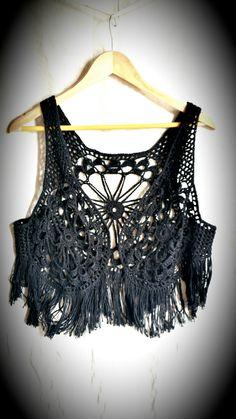 Crochet vest cotton waistcoat black fringe by PoppyBlueCrochet