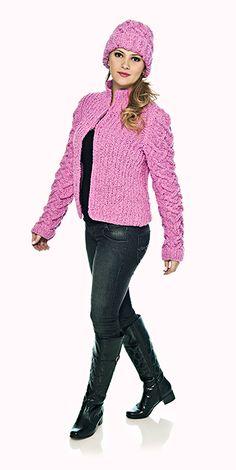 Blusa e gorro rosa Shadow #trico #receita #CoatsCorrente