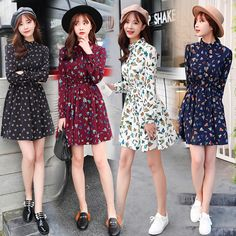 original 2018 Brand New Spring Vintage Elastic Waist Dresses Chiffon O-neck  Long-Sleeved Floral Dress Female Vestidos - Lady Shop - Store for the woman 526060669