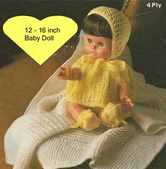 Dolls Clothes PDF Knitting Pattern : 12, 14 and 16 inch baby dolly . Tiny Tears , Berenguer by PDFKnittingCrochet on Etsy