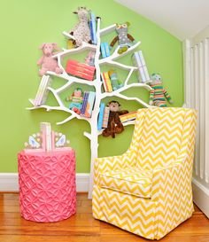 "Maybe not this layout or color but the idea of a ""tree shelf"" is awesome."
