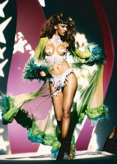 """Tyra Banks in Thierry Mugler Spring/Summer 1991 on the set of George Michael's """"Too Funky"""" music video (1992)"""