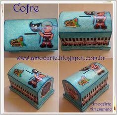 cofre baú azul - mdf madeira http://www.amocarte.blogspot.com.br/