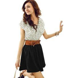 Damen Sommerkleid R¨¹schen Punkt Chiffon Shirt Mini Kleid Abendkleid G¨¹rtel Dress Beige
