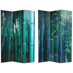6 ft. Tall Double Sided Bamboo Tree Canvas Room Divider - OrientalFurniture.com