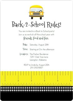 Back to School Rules   Party Invitation