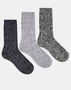 ASOS 3 Pack Cable Boot Socks
