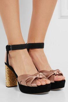 Miu Miu - Crystal-embellished Satin And Suede Platform Sandals - Antique rose - IT