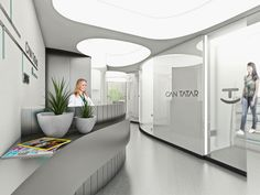 The Fluid Web Dental Clinic designed by Slash Architects offers a solution for generating maximum functional space in small space. The architects designed curved walls optimizing the circulation space like a bubble strengthening the concept with the embedded lighting elements. The usage of white acrylic and glass materials in the interior enable fluid forms and curved spaces while creating a neo-futuristic ambiance. Usage of green in the dark clinic rooms is generated by vertical zen…