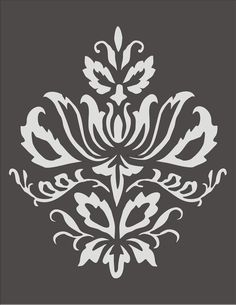 Wall Stencil Damask Design 3.2, flourish, wallpaper,floral, border, image is approx. 7.5 x 9 inches