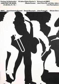 Original 1980s Swiss Jazz Poster TROXLER Design
