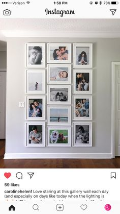 I like the clean rectangle shape of all pic's combined. Will use and pic's only, both vertical and horizontal. Like the uniform look of the frames being same size, so maybe the pic openings can just have more of a frame? Photo Wall Decor, Family Wall Decor, Living Room Decor, Wall Collage, Frames On Wall, Gallery Wall Layout, Gallery Frames, Photo Displays, Diy Home Decor