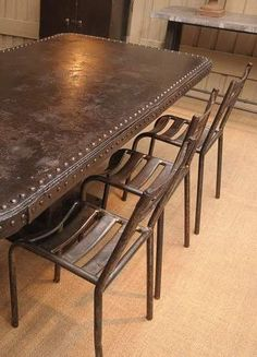 Large Riveted Metal Industrial Table With Chairs From French Public Garden