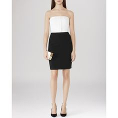 REISS Dress - Clea Color Block Bustier (920 NOK) ❤ liked on Polyvore