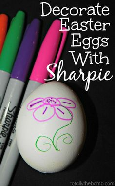 All you do is boil the eggs, and let them cool. Then draw your designs on the eggs with a sharpie. Too easy!