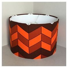 35cm-Drum-LampShade-Ceiling-Pendant-Vintage-Orange-70s-Graphic-Fabric