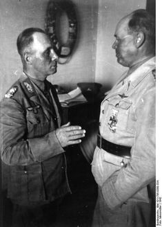 German Generals Rommel and Kesselring in North Africa 1942.