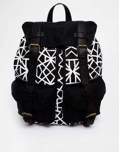 ASOS Backpack with Geo Print Body