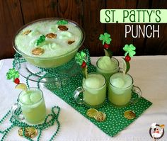 St. Patrick's Day Punch   (1 container Lime Sherbet   1 {46 oz} can Pineapple Juice   1 {2 liter} bottle Ginger Ale)