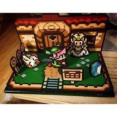 3D Legend of Zelda scene perler beads by pixelartarvika
