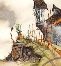 illustration, building, landscape, fence. Gris Grimly Artwork at CEL-EBRATION! Animation Art Gallery