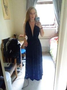 Deep V Neck Tie Waist Full Length Dress -SheIn(Sheinside)