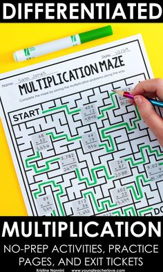 Differentiated no prep activities and exit tickets for multiplication
