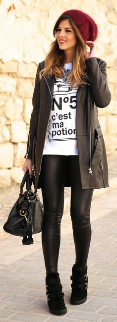 Leather Look - TrendyTaste #streetstyle