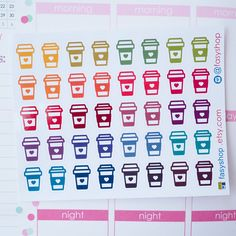40 Takeaway Coffee Cups Starbucks Sticker Planner // Perfect for Erin Condren Life Planner by FasyShop on Etsy
