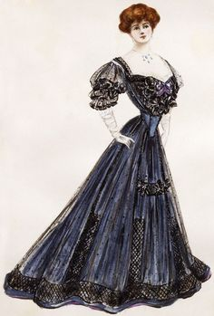 A design for a dramatic navy blue and black evening gown entitled 'Oblivion' by Lucile, 1905.