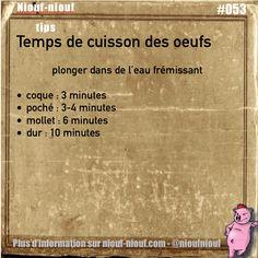 Tips Niouf-niouf : le temps de cuisson des oeufs #cuisine #oeuf #trucs #astuces