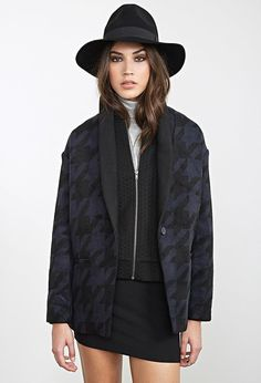 Boxy Houndstooth Coat