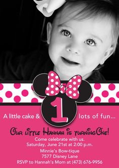 Semi Custom Hot Pink Minnie Mouse Invitation with Photo Included.