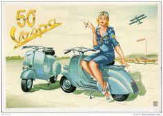 < Automobile Auto Voiture Car >> Vespa Scooter, Pin Up, 50 Ans de la Vespa 1946-1996 - Delcampe.net