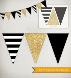 DIY Printable Banner ------ Graphic stripes, sparkling glitter and a bold solid. This listing is for a DIY PRINTABLE digital file which you can print at home, at a local print shop, or through an online printing company. Each of the three triangle panels of the banner measures