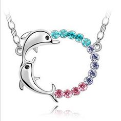 Austrian Crystal Jump Double Dolphins Blue Purple Rose Red Sweater Chain TS85341