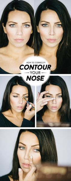 I thought it was time to update the nose contouring info as I've changed it up a bit! (in addition to the nose contouring this image is a good comparison of deer in headlights VS mirror face/zoolander blue steel. Not sure which one is better…) In middle. Maskcara Makeup, Maskcara Beauty, Contour Makeup, Skin Makeup, How To Contour Nose, Big Nose Makeup, Highlighting Makeup, Corrective Makeup, Glow Makeup
