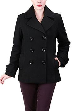 Ramonti Womens Double Breasted Black Wool Pea Coat Large Black ** Want to know more, click on the image. (This is an affiliate link) #WomensCoatsandJackets