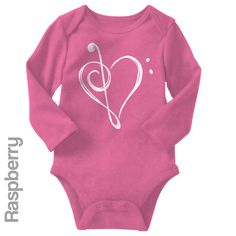 Music Heart - Long Sleeve Infant Onesie   One-Piece Bodysuit   Baby Clothes   Also On Etsy