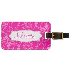 Pretty pink wildflower damask name and address id luggage tag. Pattern art and design by www.sarahtrett.com