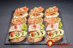 Fantastické nápady na domáce nátierky, ktoré sú výborné na studené misy a obložené chlebíčky, ktoré ma tieto sviatky určite oceníte. Výborné a hlavne pripravené rýchlo! Catering, Slovak Recipes, Tapas, Good Food, Yummy Food, Canapes, Finger Foods, Sushi, Buffet