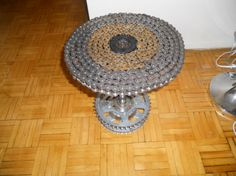 cool shop table idea - motorcycle chain table