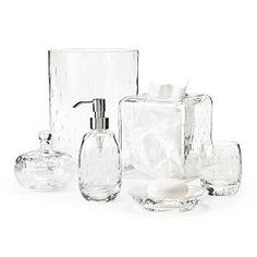This Clear Glass Has A Wonderful Crackle Finish That Catches And Fascinating Clear Bathroom Accessories Inspiration