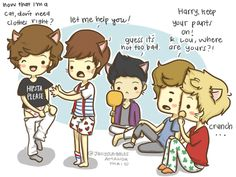 one direction cartoon | One Direction as cats by ~Ale315 on deviantART