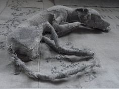 Holy Smoke - I believe the artist is Helen Thompson, researching to confirm. Textile Sculpture, Paper Mache Sculpture, Dog Sculpture, Sculpture Projects, Small Sculptures, Animal Sculptures, Textile Prints, Textile Art, Helen Thompson