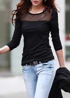 Long Sleeve Solid Black Mesh Patchwork T Shirt  on sale only US$25.90 now, buy cheap Long Sleeve Solid Black Mesh Patchwork T Shirt  at lulugal.com