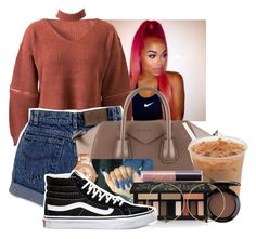 """""""Untitled #1977"""" by therealslimm ❤ liked on Polyvore featuring WithChic, Givenchy, FOSSIL, MAC Cosmetics, Kat Von D, Vans, Alcozer & J and tarte"""