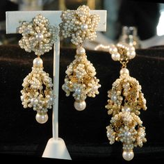 DeMario-Hagler dangle pearl clip on earrings